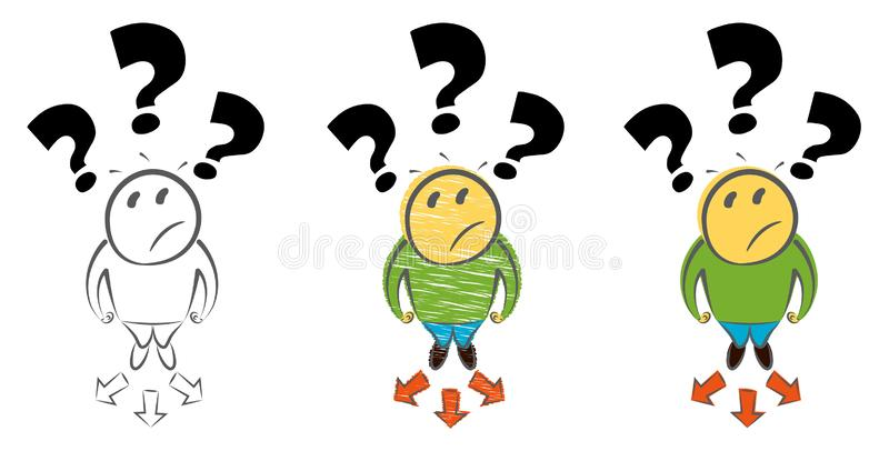 Auserlesenes Weisenkonzept Draufsicht des Mannes Entscheidungsgesch?ftsmetapher Hand gezeichnete Karikaturgekritzel-Vektorillustr lizenzfreie abbildung