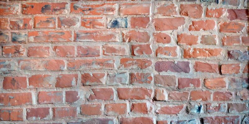 Ausführliche alte Wand-Hintergrundbeschaffenheit des roten Backsteins lizenzfreie stockfotos