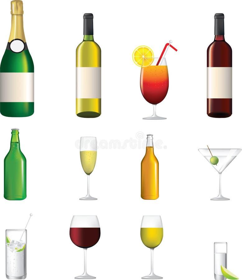 Ausführliche Ikone der verschiedenen alkoholischen Getränke lizenzfreie abbildung