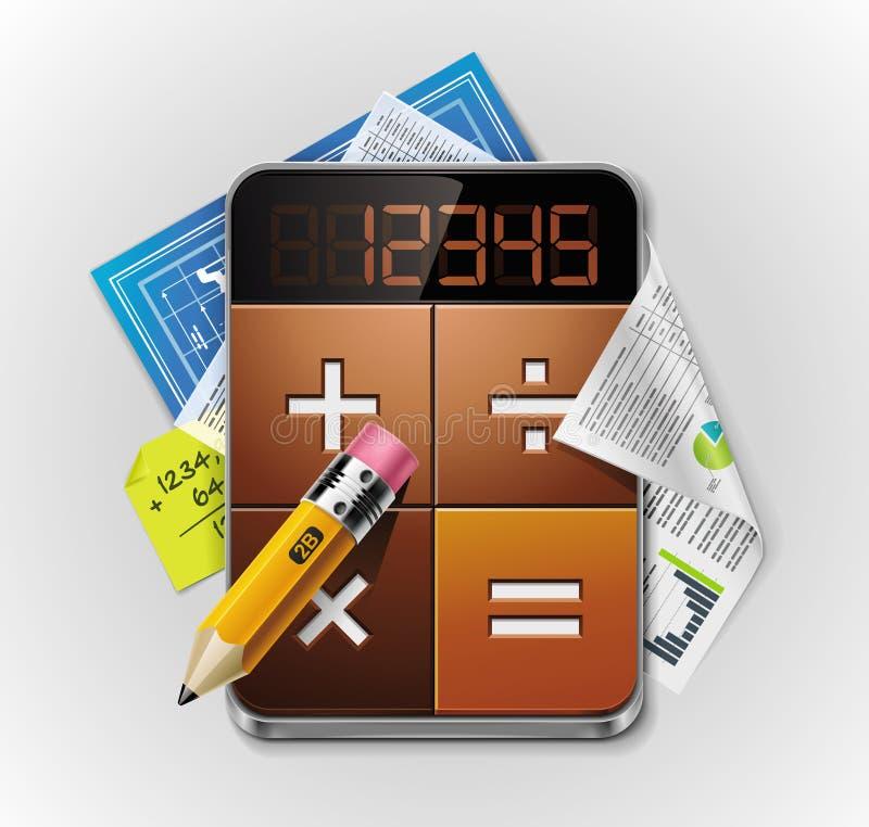 Ausführliche Ikone des vektorrechners XXL lizenzfreie abbildung