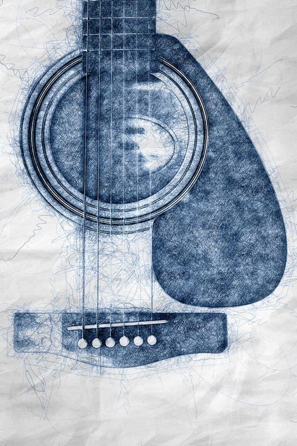 Ausführliche Illustration der Akustikgitarreillustration vektor abbildung