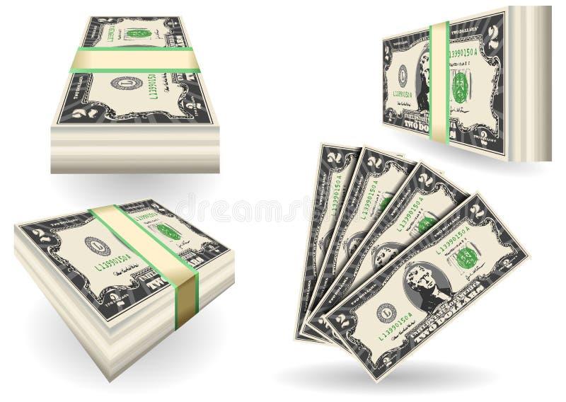 Satz von zwei Dollar Banknoten stock abbildung