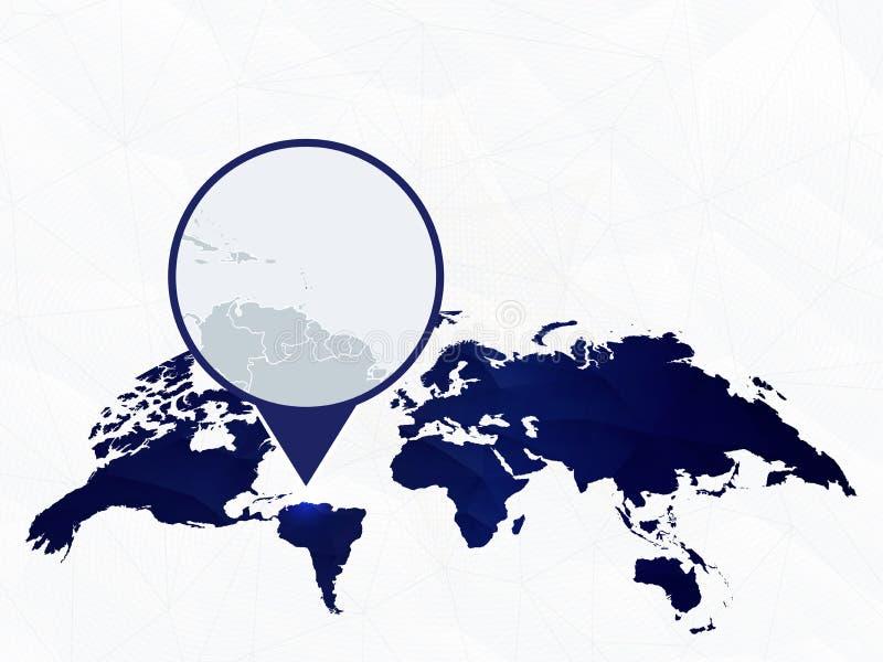 Ausf?hrliche Karte der St. Lucia hob auf blauer gerundeter Weltkarte hervor stock abbildung