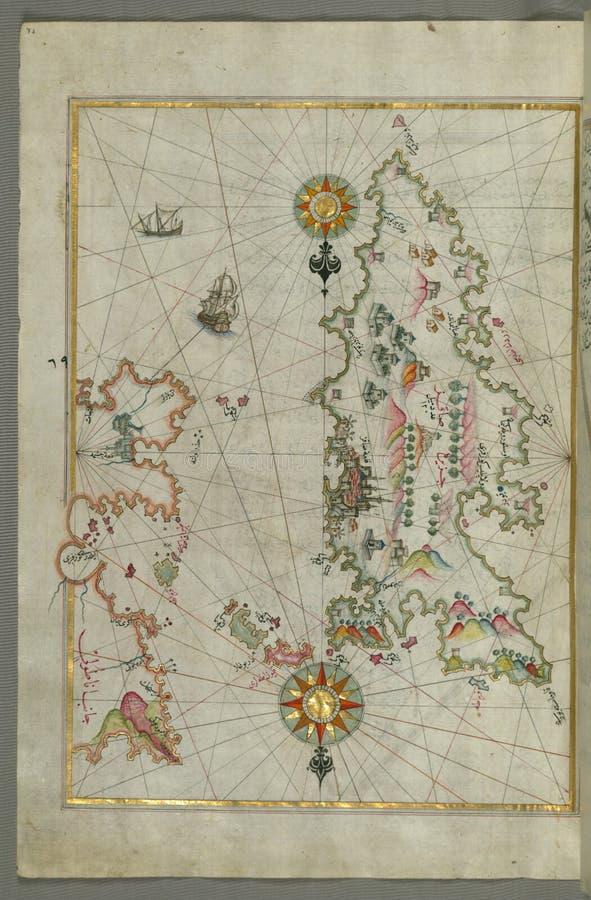 Ausführliche Karte von Chios ( Sakiz, á ¹ ¢Ä  qiz) Insel mit seiner Festung und anderen topographischen Funktionen, vom Buch auf lizenzfreies stockfoto