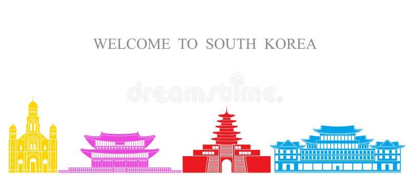 Ausführliche Landform mit den Regionrändern, -markierungsfahnen und -ikonen getrennt auf weißem Hintergrund Lokalisierte Südkorea vektor abbildung