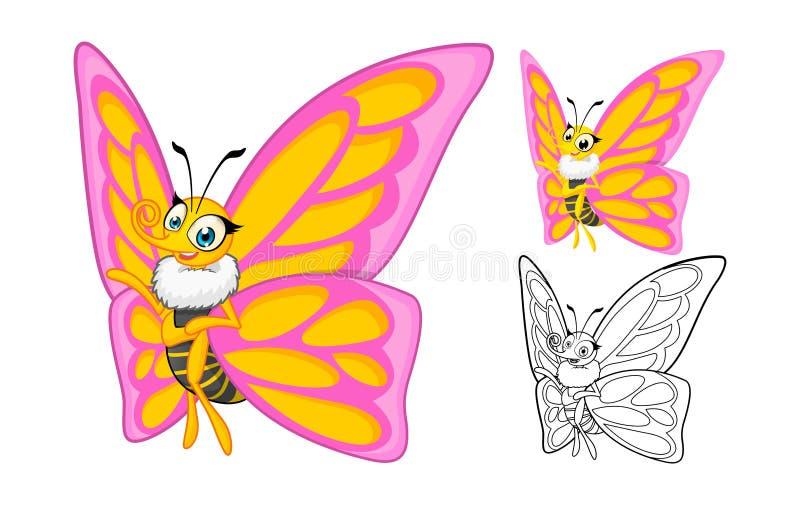 Ausführliche Schmetterlings-Zeichentrickfilm-Figur mit flachem Design und Linie Art Black und weiße Version vektor abbildung