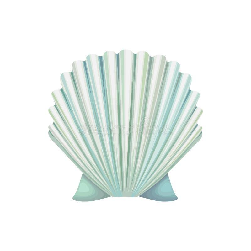 Ausführliche Vektorikone der Muschelschale Ozeanmolluske Gegenstand der Unterwasserwelt Bunter Seashell Blaues Meer nahtlos stock abbildung