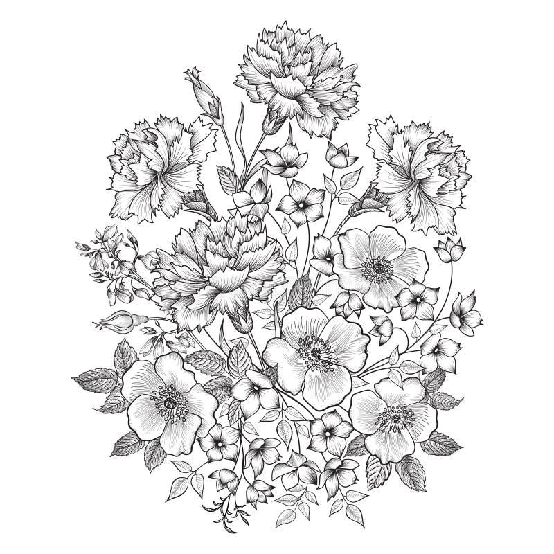 Ausführliche vektorzeichnung Blumenblumenstraußgrenze Blumenweinleseabdeckung lizenzfreie abbildung