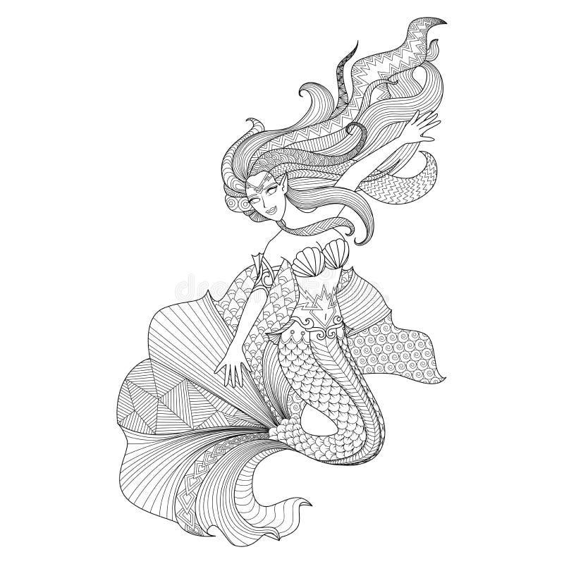 Ausführliche zentangle Meerjungfrau für Färbungsseite lizenzfreie abbildung