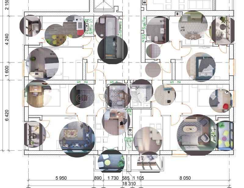 Ausführlicher Architekturgrundriss mit realistischem 3d, das Innenarchitekturproben, Draufsicht überträgt vektor abbildung