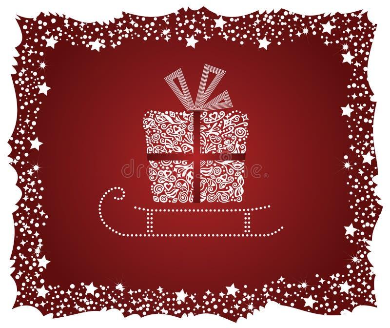 Ausführlicher Geschenkkasten auf einem Schlitten lizenzfreie abbildung