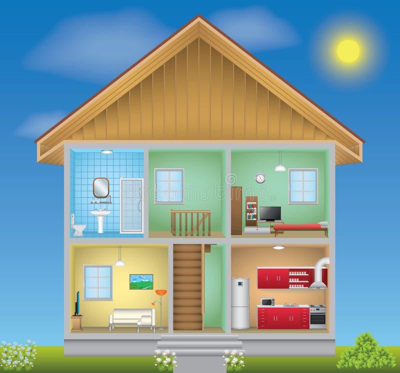 Ausführlicher Hausinnenraum stock abbildung