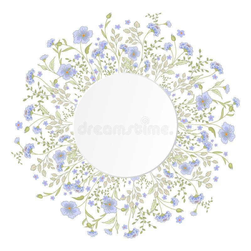 Ausführlicher Konturnkranz mit Kräutern und wilden Blumen vektor abbildung
