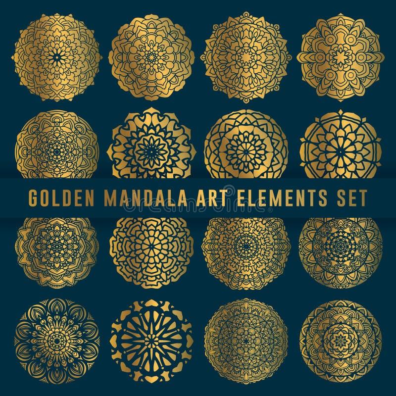 Ausführliches goldenes Mandalakunst-Satzelement Weinlesemandalakunst mit gerundeter abstrakter mit Blumenverzierung Mandalamuster lizenzfreie abbildung