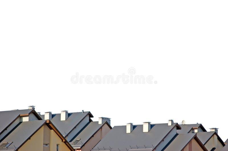 Ausführliches Rowhouse Roofs das getrennte Panorama stockfoto
