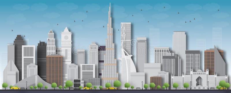 Ausführliches Schattenbild der Dubai-Stadtskyline Auch im corel abgehobenen Betrag lizenzfreie abbildung