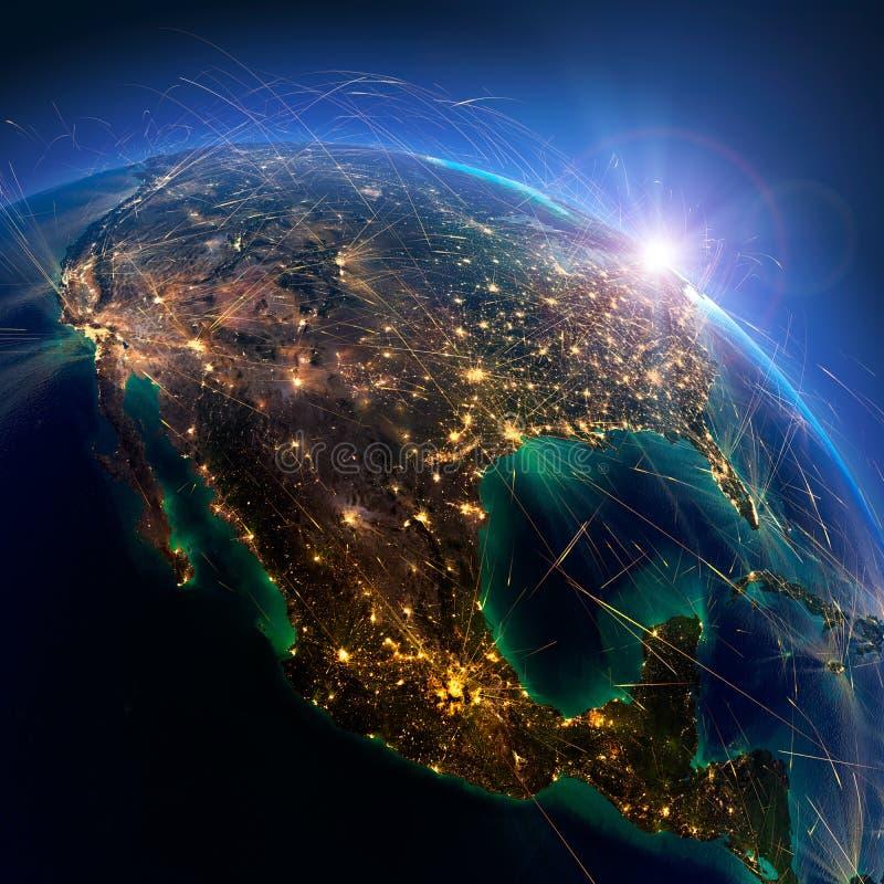 Ausf?hrliche Flugverbindungen auf Erde Mexiko und die Vereinigten Staaten Wiedergabe 3d vektor abbildung