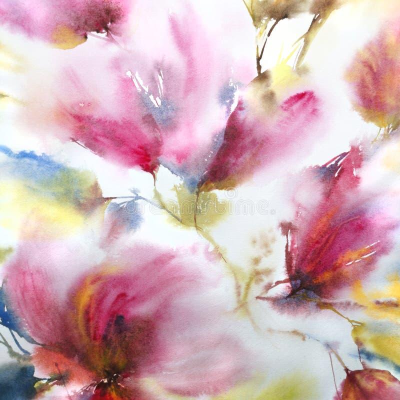 Ausf?hrliche vektorzeichnung Empfindliche Blumen des Aquarells Blumenwandkunst Blaue Auslegung Hochzeits-Einladung mit rosa Blume lizenzfreie abbildung