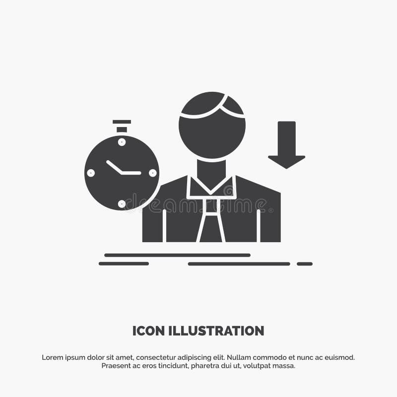 Ausfall, Ausfallung, traurig, Krise, Zeit Ikone graues Symbol des Glyphvektors f?r UI und UX, Website oder bewegliche Anwendung lizenzfreie abbildung