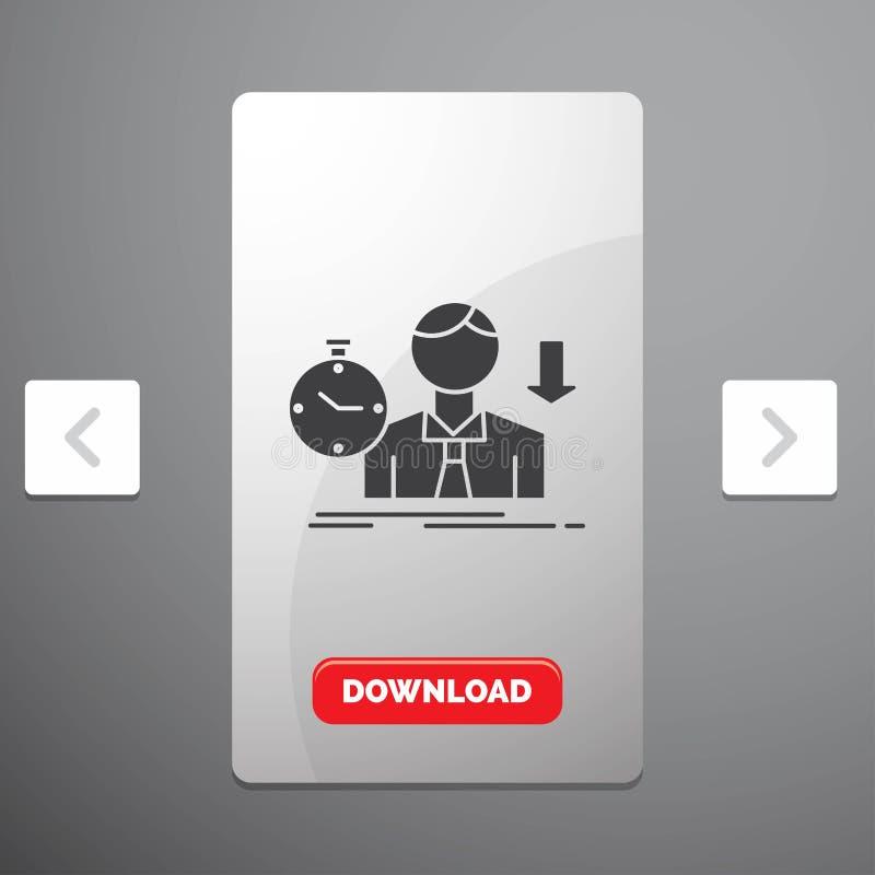 Ausfall, Ausfallung, trauriges, Krise, Zeit Glyph-Ikone im Carousals-Paginierungs-Schieber-Entwurf u. roter Download-Knopf stock abbildung