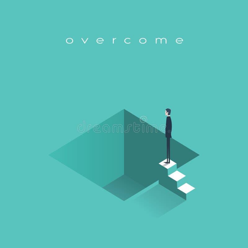 Ausfall in der Geschäftsvektor-Konzeptillustration mit dem deprimierten Geschäftsmann, der bereit steht zu springen Symbol des Ko vektor abbildung