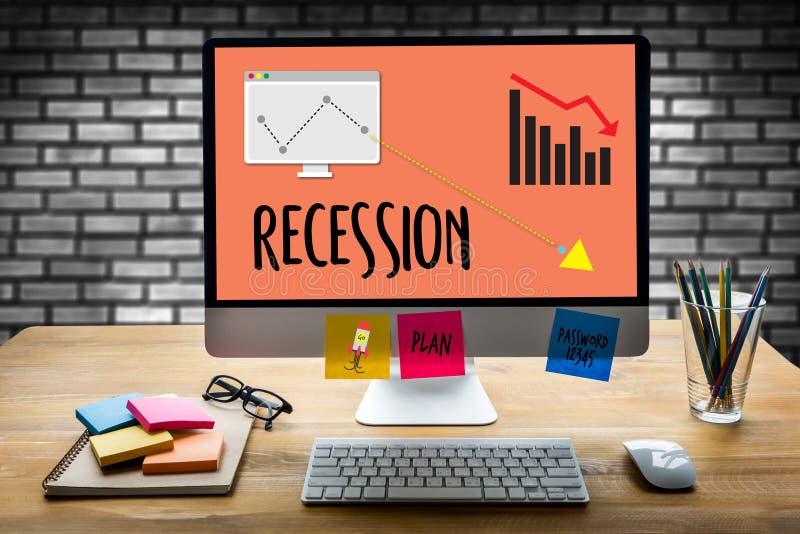 Ausfall des Rezessions-finanziellen Risikos unten, Geschäftsdiagramm mit arro lizenzfreies stockbild