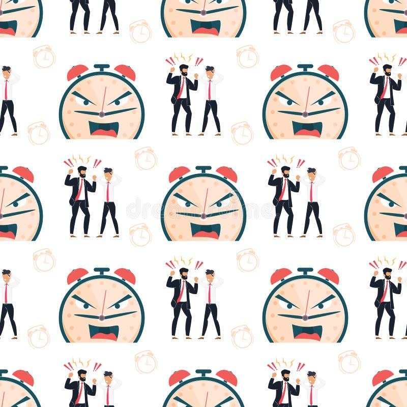 Ausfall-Fristen-Karikatur-flaches nahtloses Muster stock abbildung