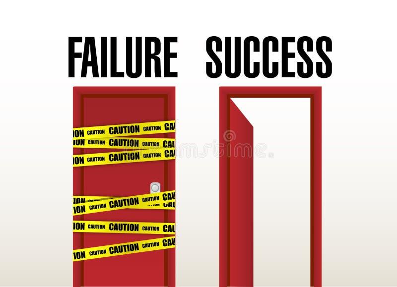 Ausfall- und Erfolgstüren. Illustrationsdesign stock abbildung