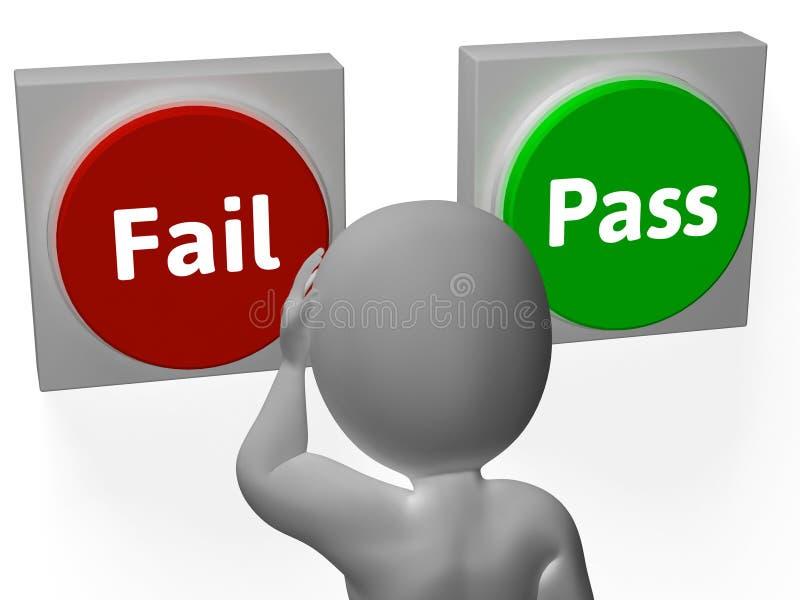 Ausfallungs-Durchlauf-Knopf-Show-Ablehnung oder Bestätigung lizenzfreie abbildung