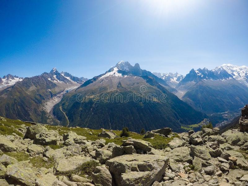 Ausflug DU Mont Blanc/Col. de Voza, Frankreich lizenzfreie stockfotos