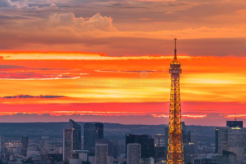 Ausflug-Eiffel-Sonnenuntergang stockbilder