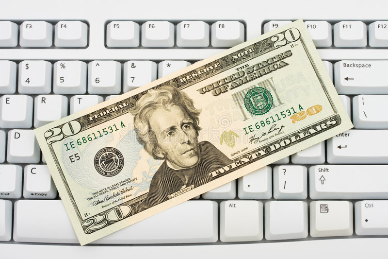 Ausgaben-Geld Online stockbilder