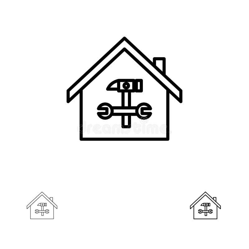 Ausgangs-, des Gebäudes, des Baus, der Reparatur, des Hammers, des Schlüsselsmutige und dünne schwarze Linie Ikonensatz vektor abbildung
