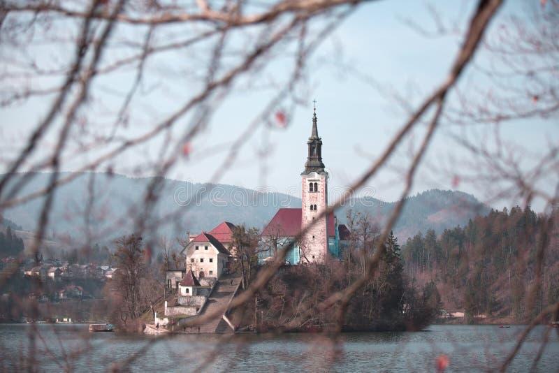 Ausgeblutete Insel mit Kirche lizenzfreies stockbild