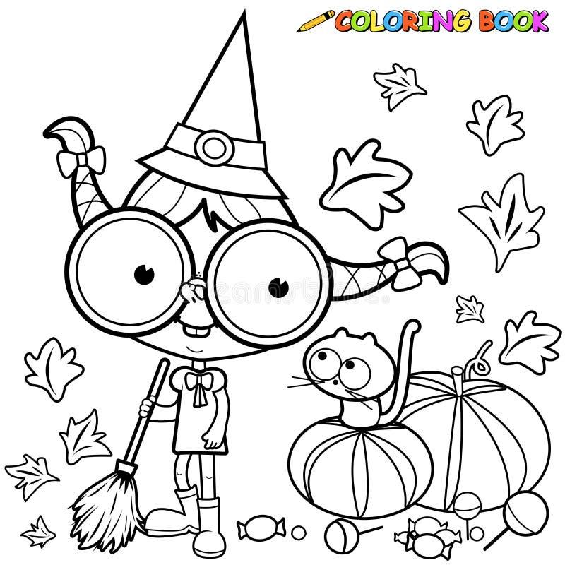 Ausgedehnte Kürbisblätter Farbtonseite Halloween-Hexe lizenzfreie abbildung