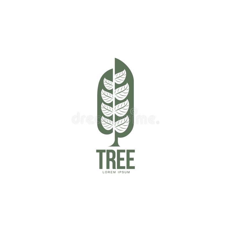 Ausgedehntes grafisches Baumlogo mit den stilisierten Blättern, die von der Mitte wachsen lizenzfreie abbildung