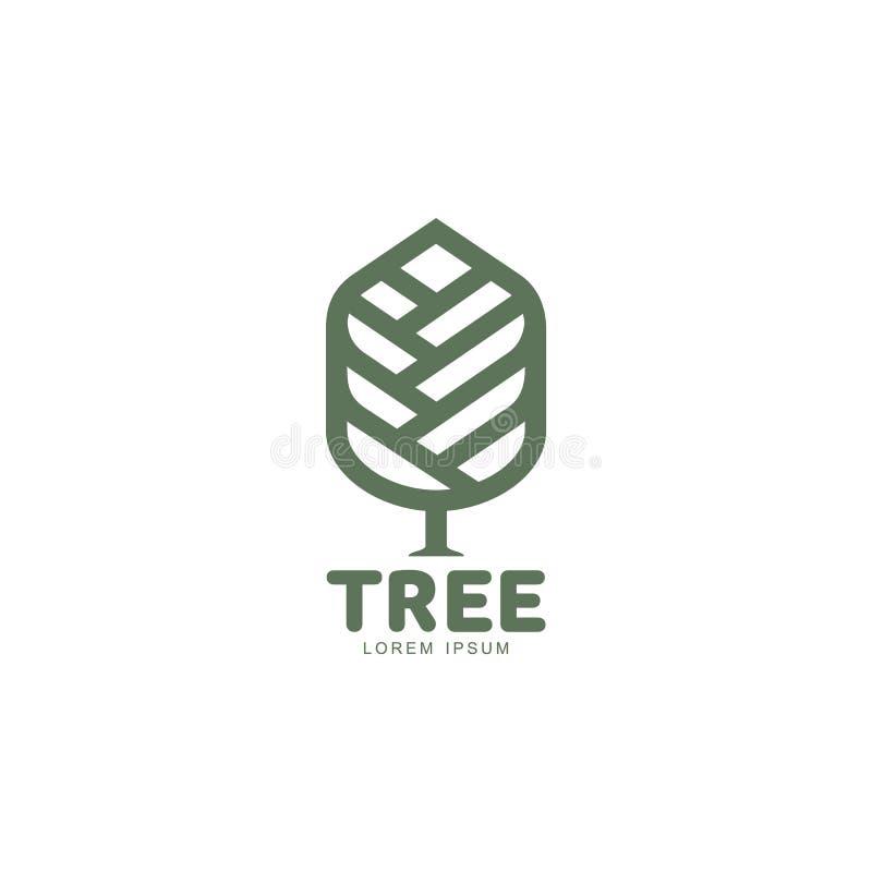 Ausgedehntes grafisches Baumlogo mit den stilisierten Blättern, die von der Mitte wachsen vektor abbildung