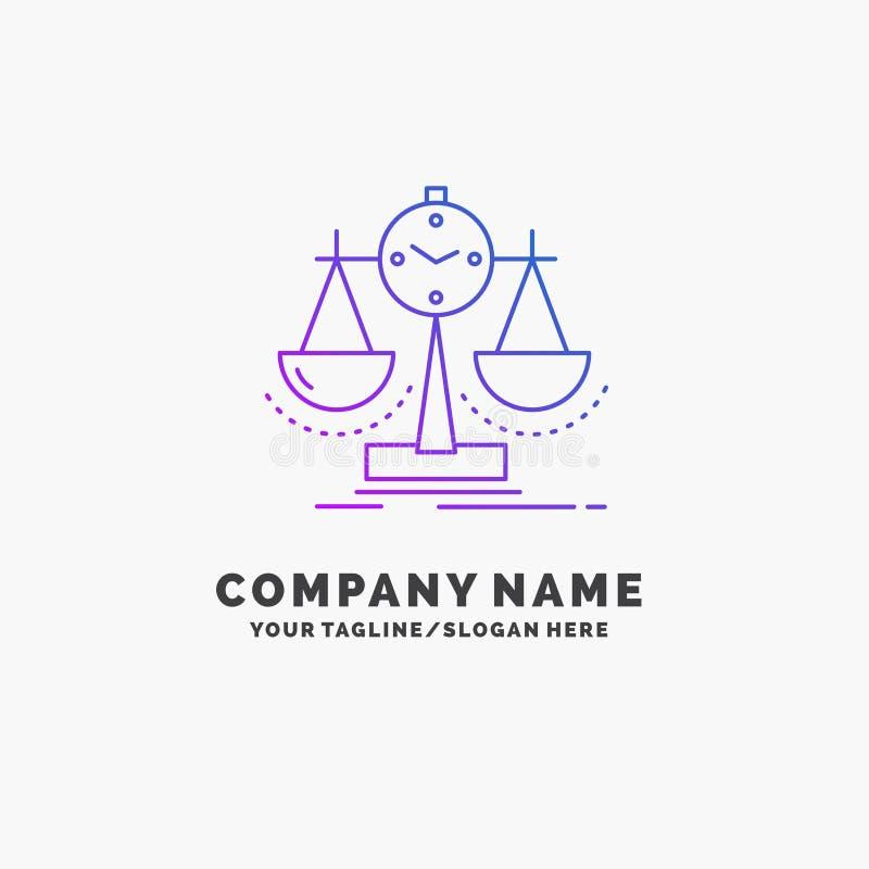 Ausgeglichen, Management, Maßnahme, Spielstandskarte, Strategie purpurrotes Geschäft Logo Template Platz f?r Tagline stock abbildung