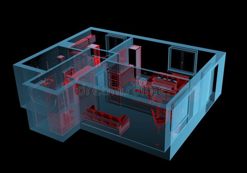 Ausgerüstetes Haus (Röntgenstrahl 3D rote und blaue transparente) stock abbildung