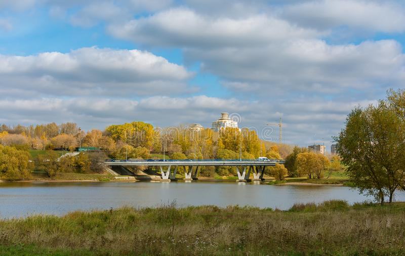 Ausgereifter Herbst Teich und Brücke Borisovsky moskau Russland stockfoto