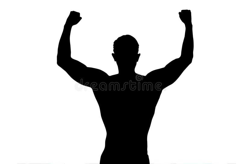 Ausgestreckte Arme des Sports des Schattenbildes hinterer starker Mann zeigen die Aufstellung des Eignungskörpers auf weißem Hint lizenzfreies stockfoto