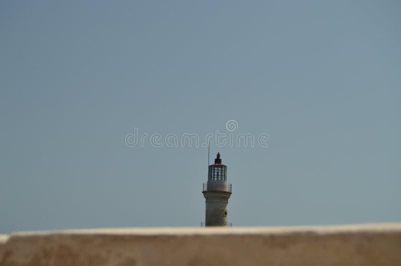 Ausgezeichnete Ansichten des Altertums-Leuchtturmes im Hafen von Chania Geschichtsarchitektur-Reise lizenzfreie stockfotos
