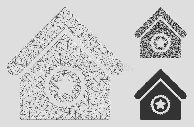 Ausgezeichnete errichtende Vektor-Maschen-2D Modell-und Dreieck-Mosaik-Ikone vektor abbildung