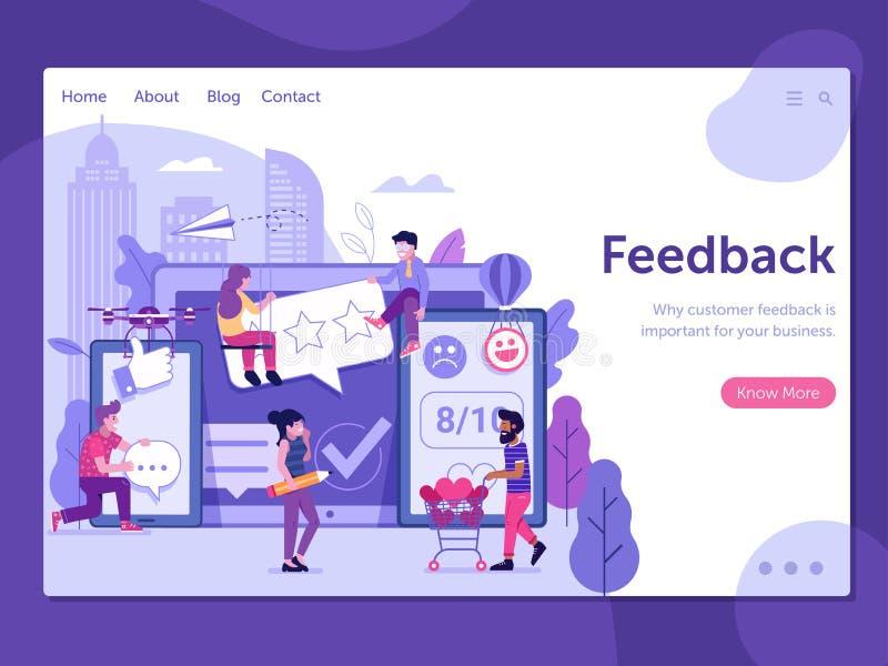 Ausgezeichnete Kunden-Feedback-Landungs-Seite stock abbildung