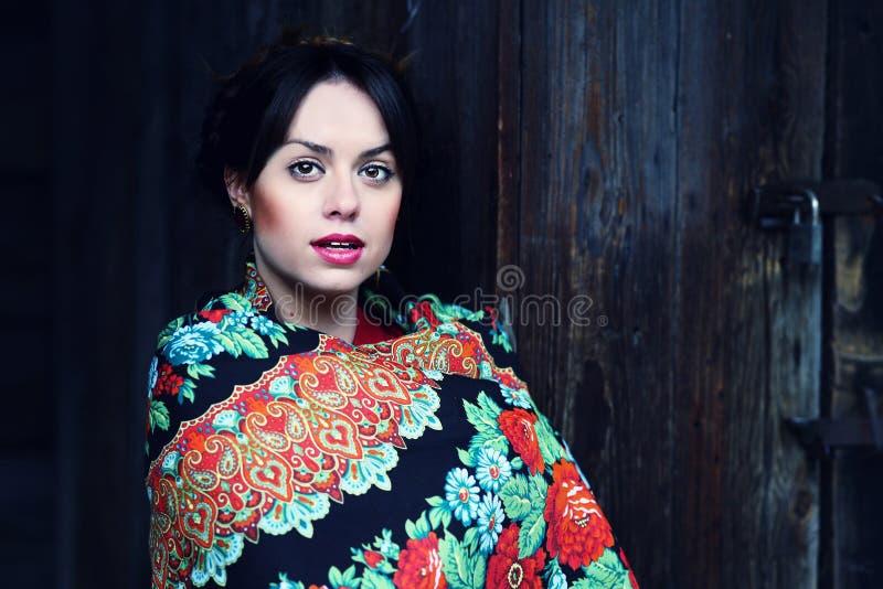 Ausgezeichnete reizend russische Frau im bunten Schal lizenzfreie stockfotos