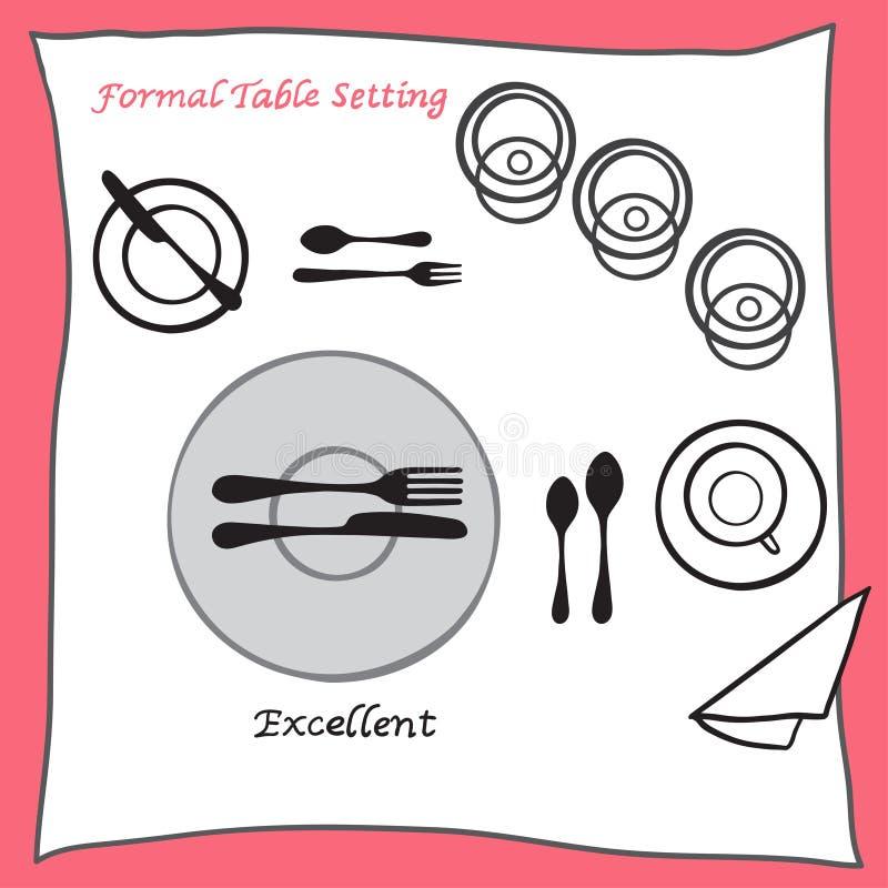 Ausgezeichnete speisende richtige Anordnung des Gedecks für cartooned Tischbesteck vektor abbildung
