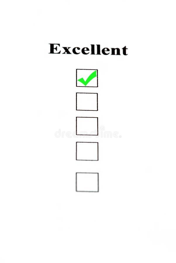 Ausgezeichneter Check stockbild
