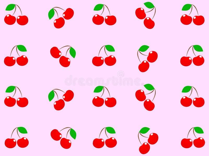 Ausgezeichnetes Design von frischen köstlichen roten Kirschen stock abbildung