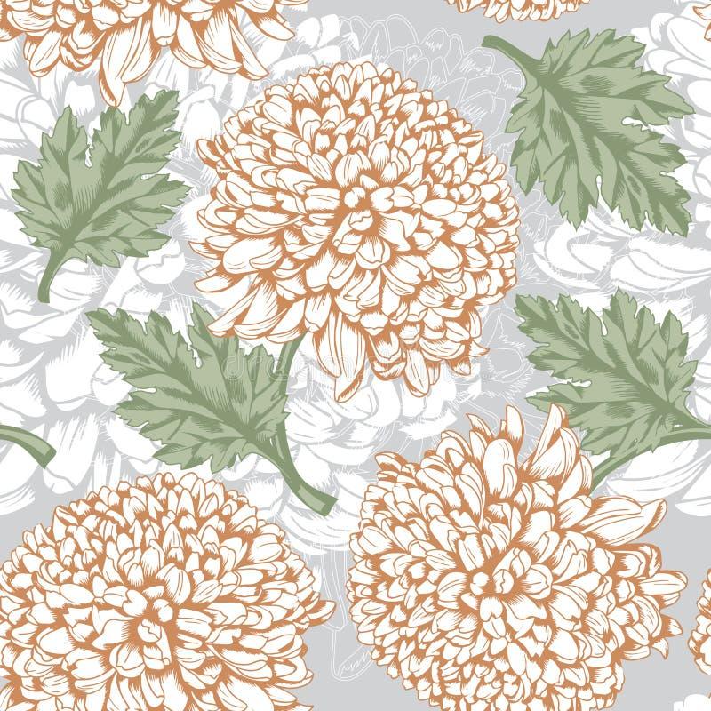 Ausgezeichnetes nahtloses Muster mit Chrysantheme vektor abbildung