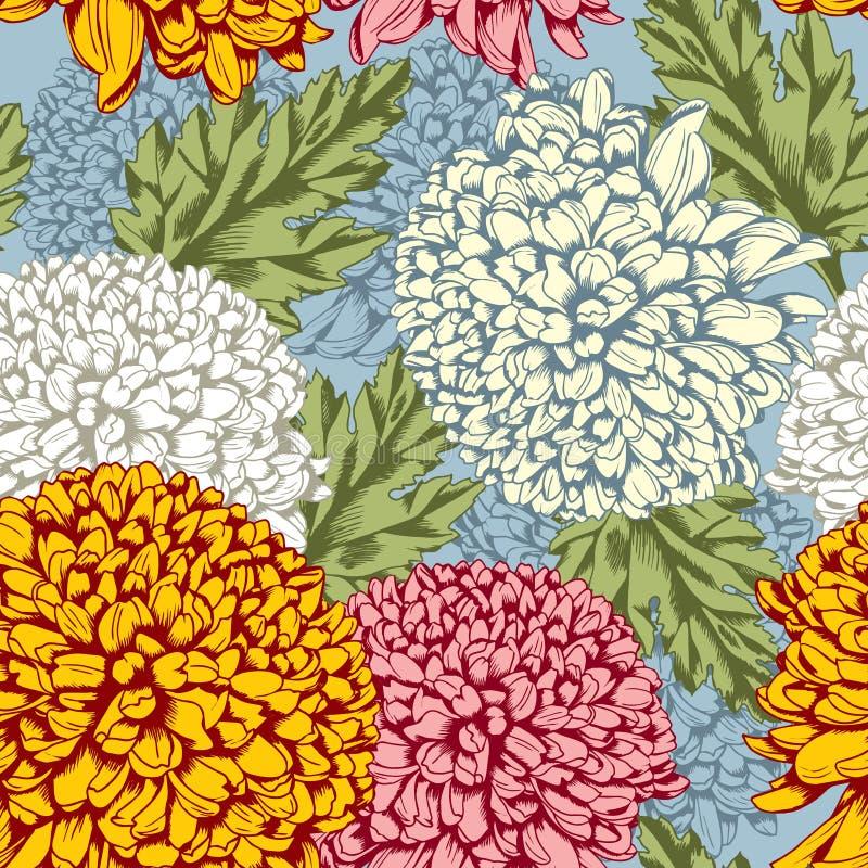 Ausgezeichnetes nahtloses Muster mit Chrysantheme stock abbildung